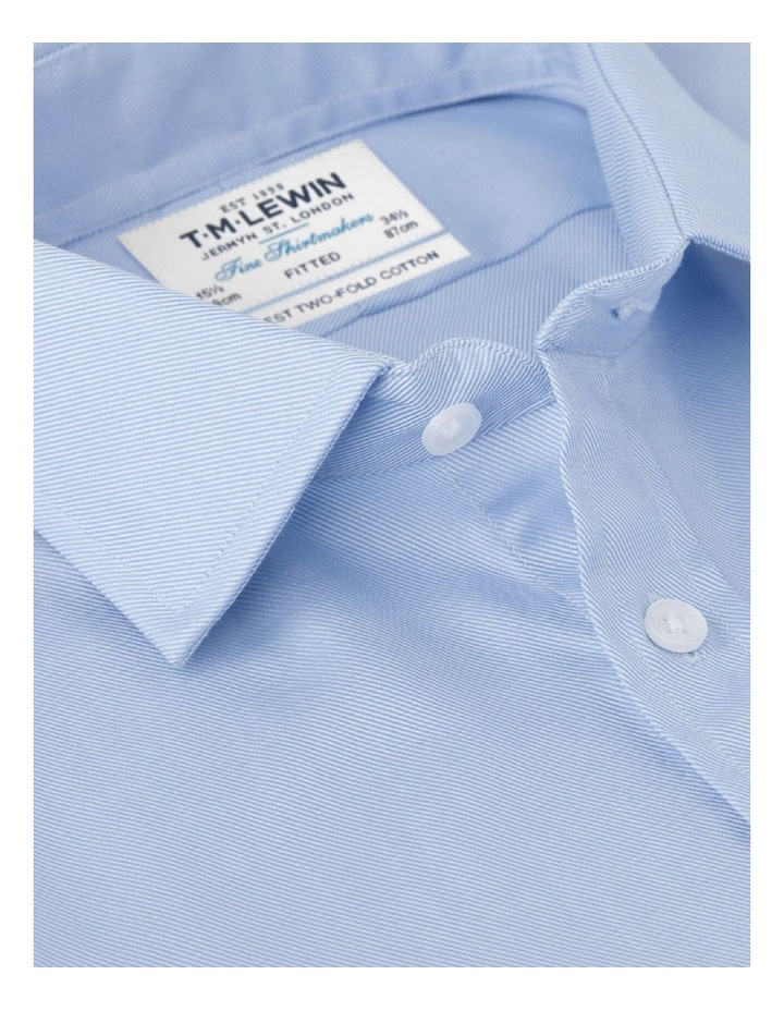 Fitted Plain Blue Luxury Twill Button Cuff Shirt image 2