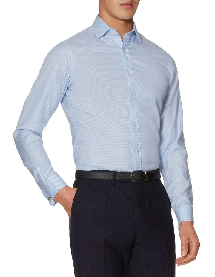 Non-Iron Blue Dogtooth Fitted Shirt image 2