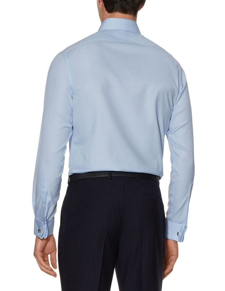Non-Iron Blue Dogtooth Fitted Shirt image 3