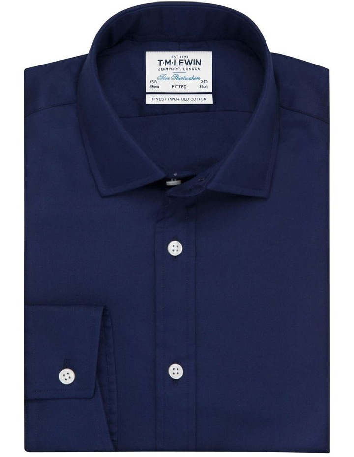 Fitted Dark Navy Twill Button Cuff Shirt image 1