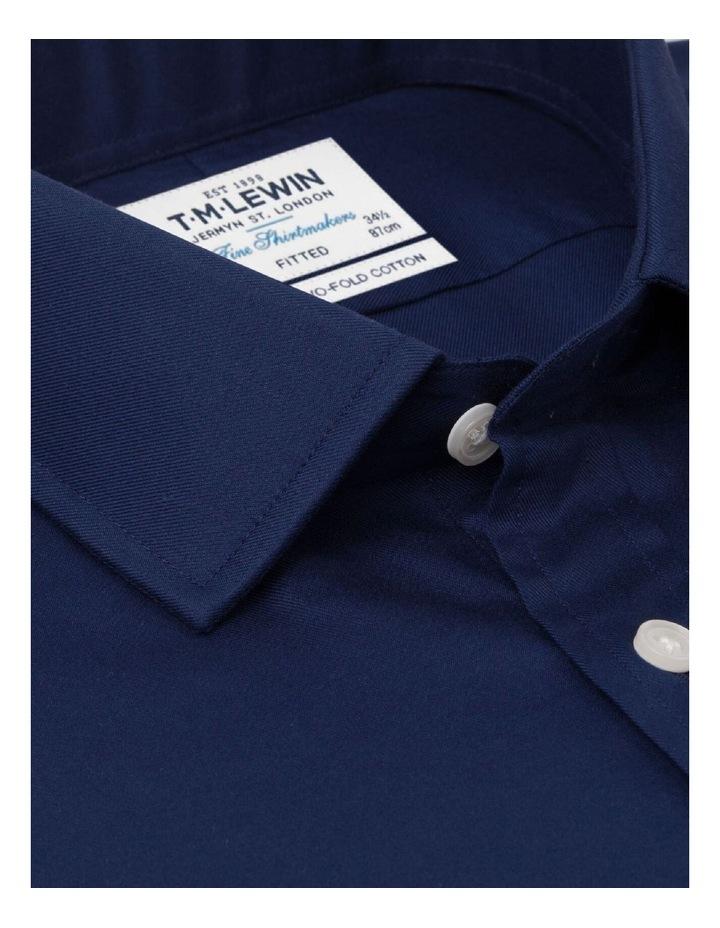 Fitted Dark Navy Twill Button Cuff Shirt image 2
