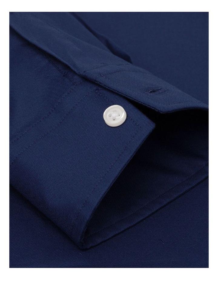 Fitted Dark Navy Twill Button Cuff Shirt image 3