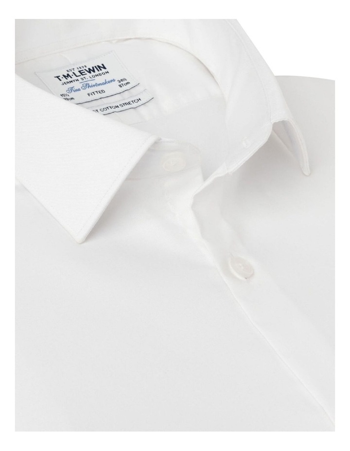 Stretch Cotton Fitted White Shirt - Button Cuff image 2