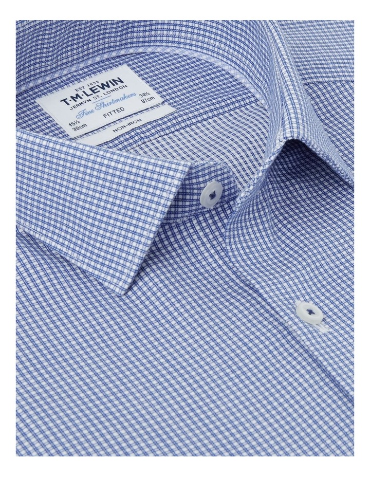 Non-Iron Fitted Navy Micro Check Twill Shirt  Button Cuff image 2