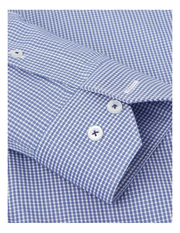 Non-Iron Fitted Navy Micro Check Twill Shirt  Button Cuff image 3