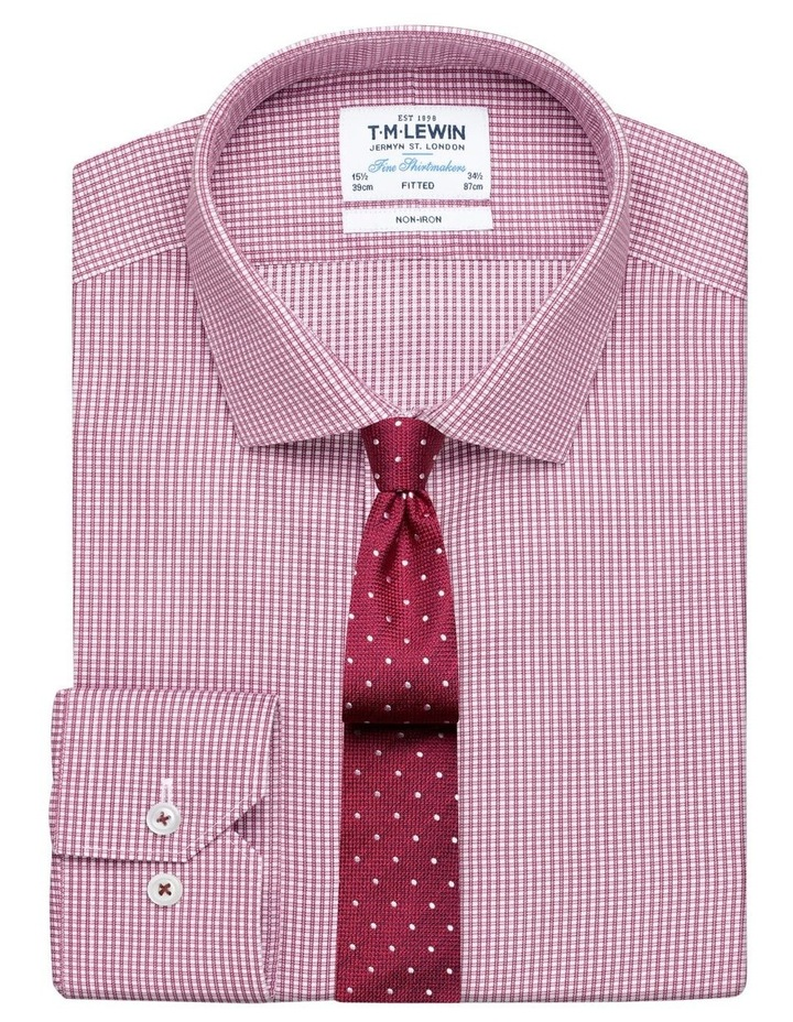 Non-Iron Fitted Burgundy Micro Check Twill Button Cuff Shirt image 1