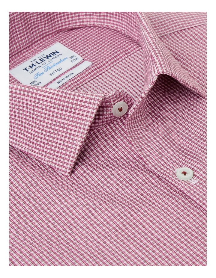 Non-Iron Fitted Burgundy Micro Check Twill Button Cuff Shirt image 2