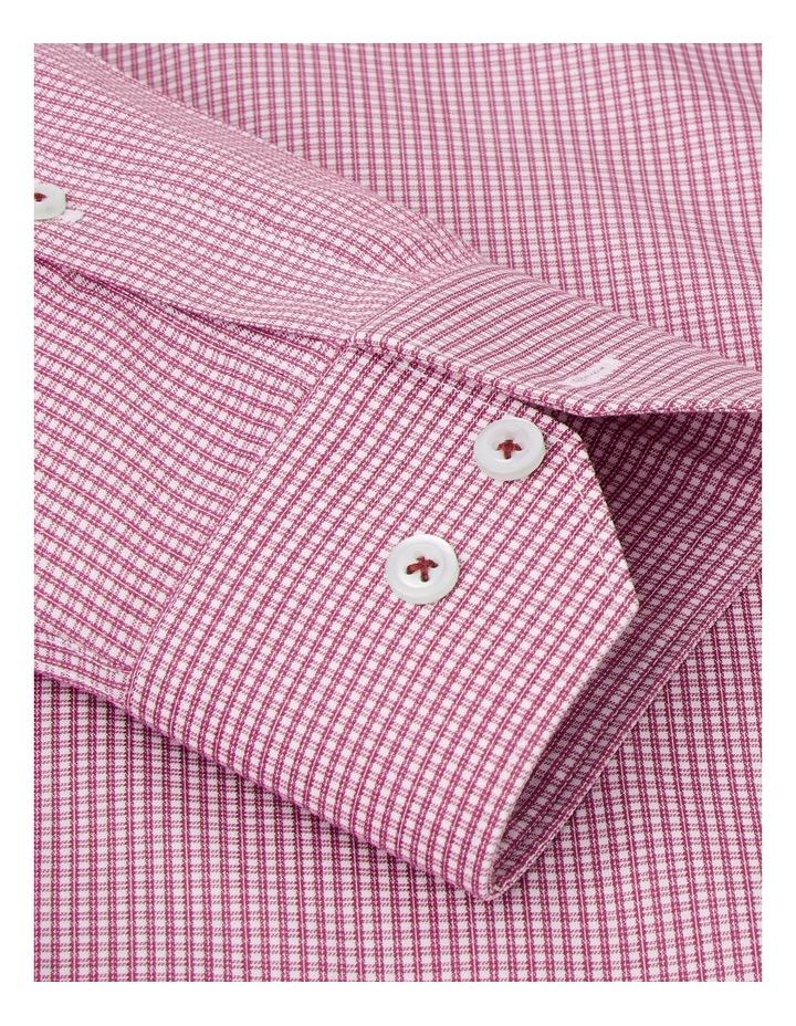 Non-Iron Fitted Burgundy Micro Check Twill Button Cuff Shirt image 3