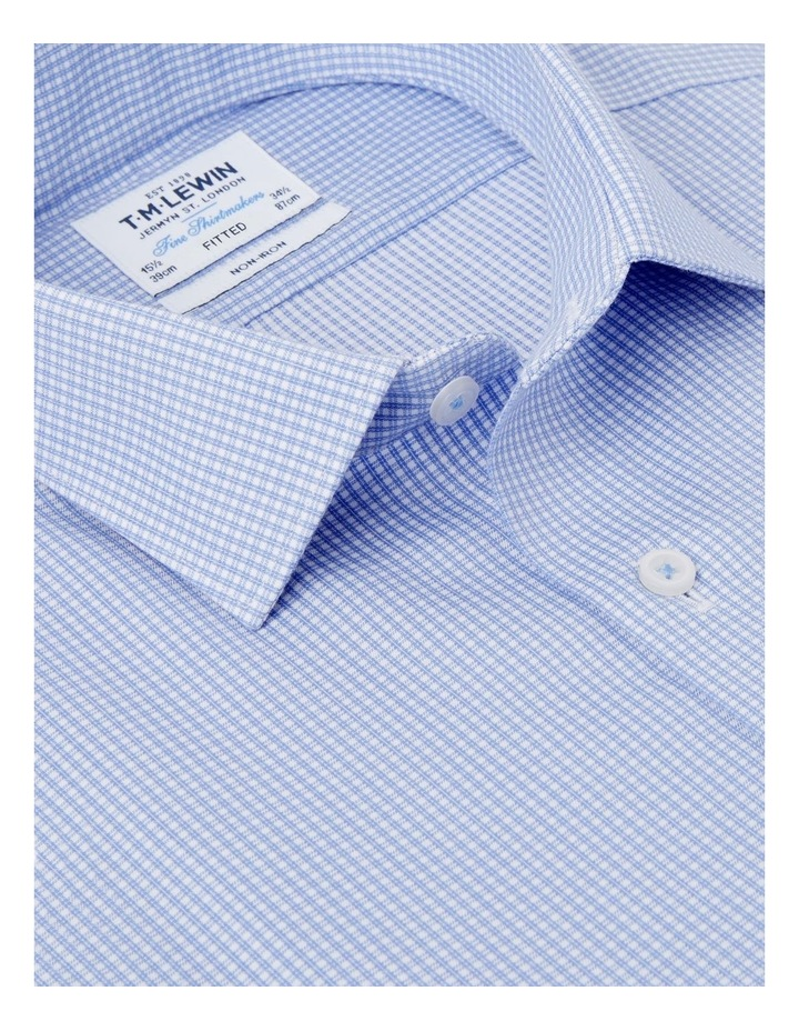 Non-Iron Fitted Blue Micro Check Twill Shirt  Button Cuff image 2