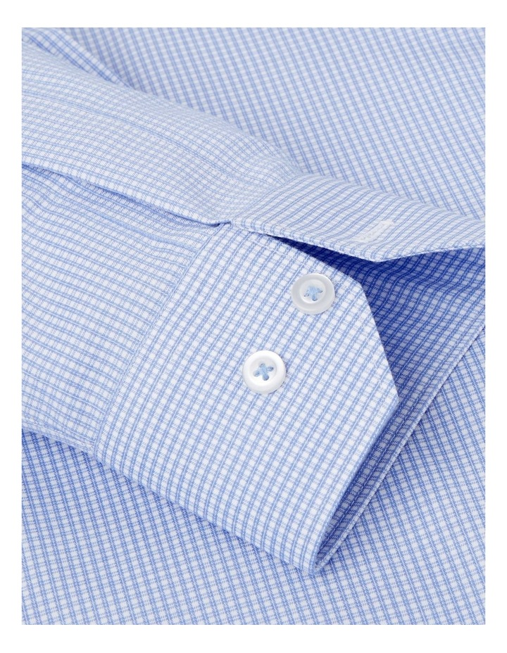 Non-Iron Fitted Blue Micro Check Twill Shirt  Button Cuff image 3