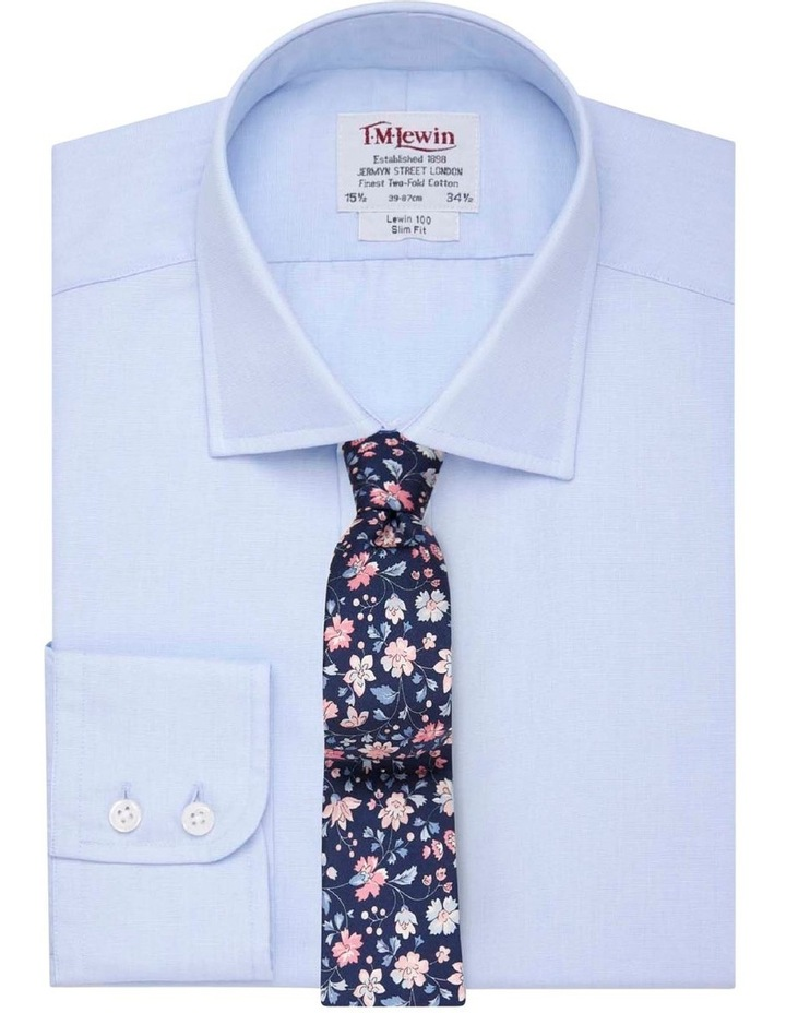 Slim Fit Light Blue End-on-End Button Cuff Shirt image 1