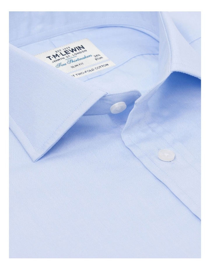 Slim Fit Light Blue End-on-End Button Cuff Shirt image 2
