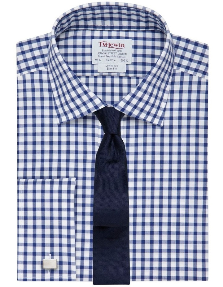 Slim Fit Navy Check Poplin Shirt image 1