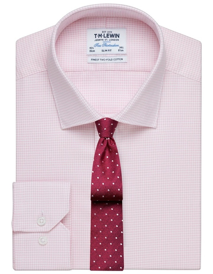 Slim Fit Pink Dogtooth Basket Weave Shirt  Button Cuff image 1
