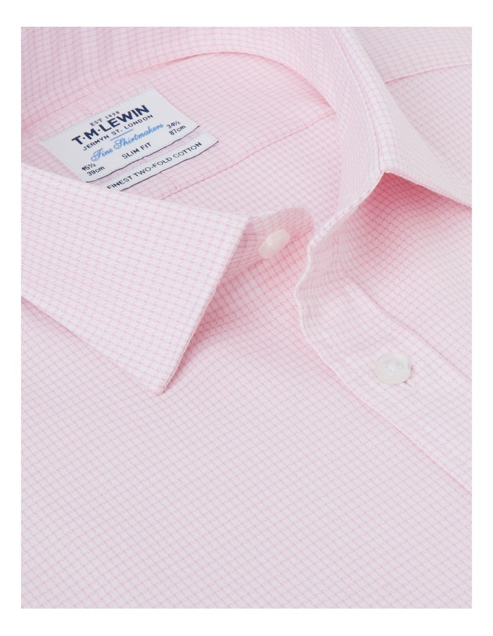 Slim Fit Pink Dogtooth Basket Weave Shirt  Button Cuff image 2