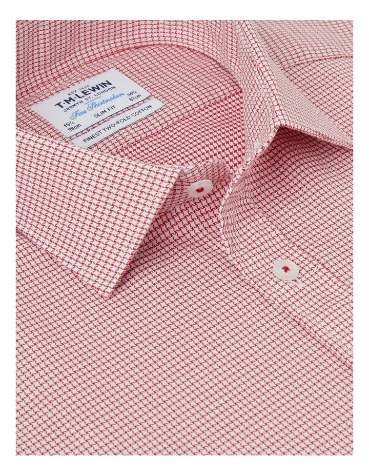 Slim Fit Red Dogtooth Basket Weave Shirt  Button Cuff image 2