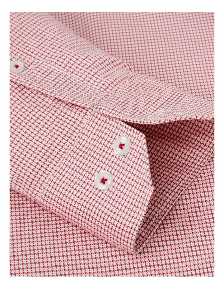 Slim Fit Red Dogtooth Basket Weave Shirt  Button Cuff image 3