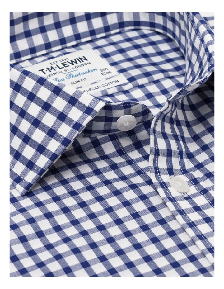 Slim Fit Navy Micro Check Shirt - Button Cuff image 2