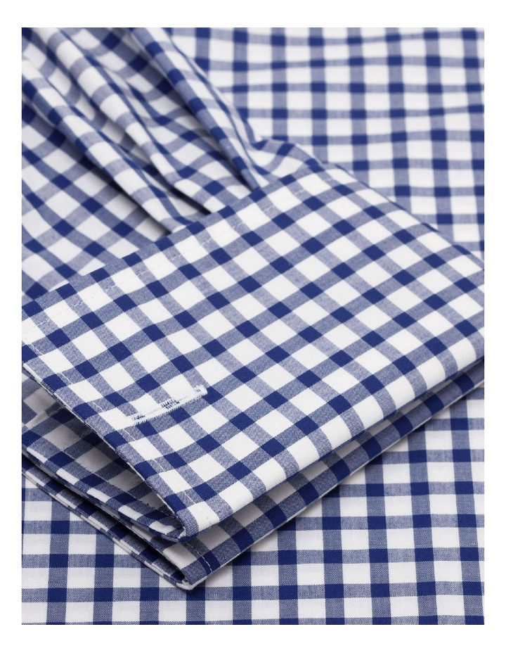 Slim Fit Navy Micro Check Shirt - Button Cuff image 3