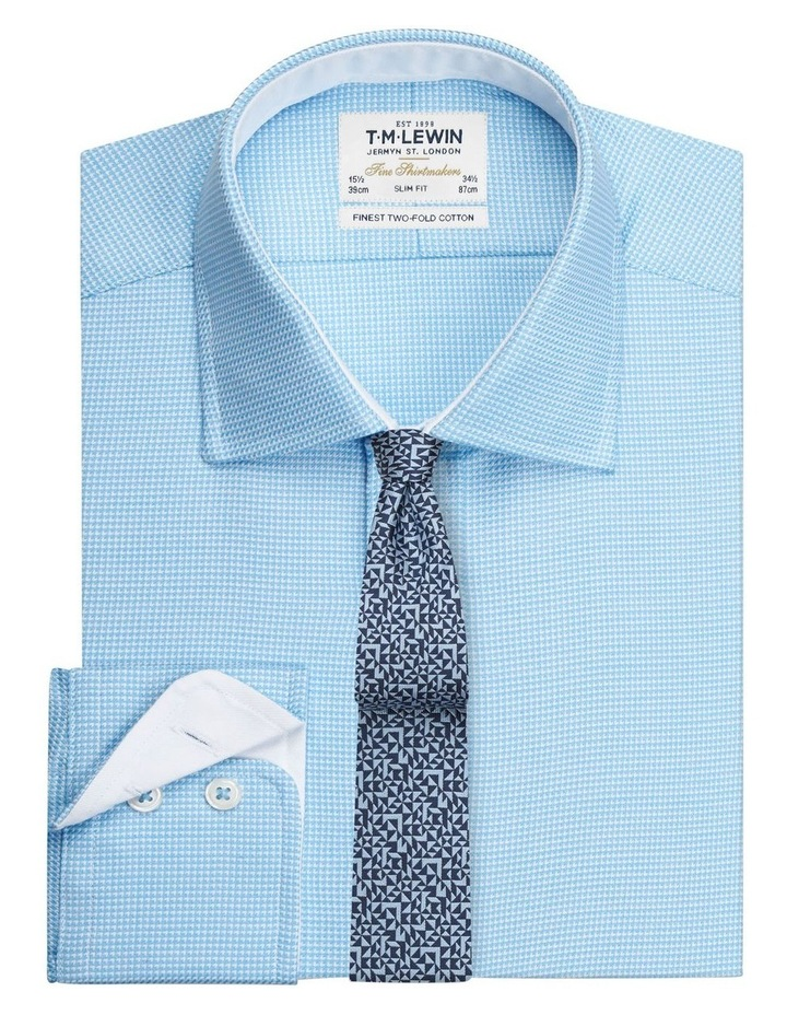 Slim Fit Blue Arrow Twill Button Cuff Shirt image 1