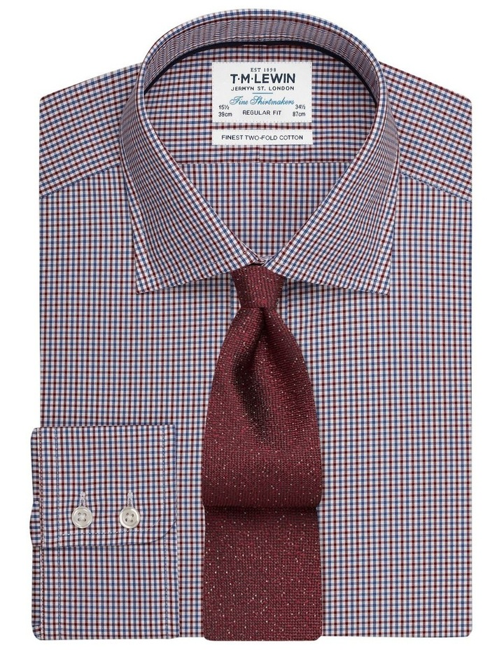 Regular Fit Burgundy And Navy Micro Check Shirt  Button Cuff image 1