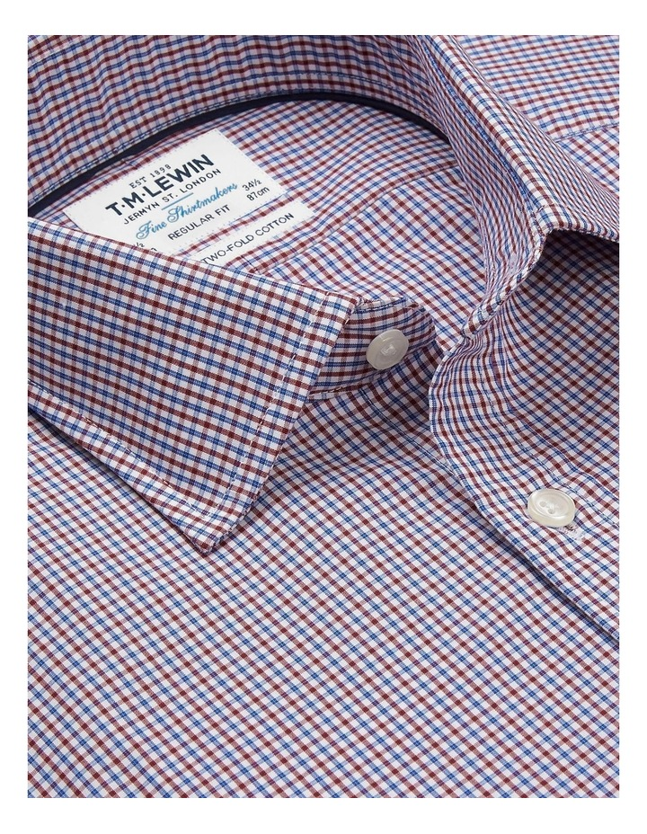 Regular Fit Burgundy And Navy Micro Check Shirt  Button Cuff image 2