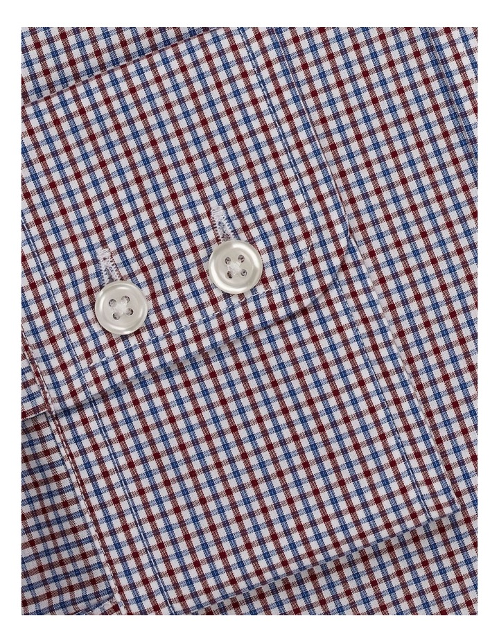 Regular Fit Burgundy And Navy Micro Check Shirt  Button Cuff image 3