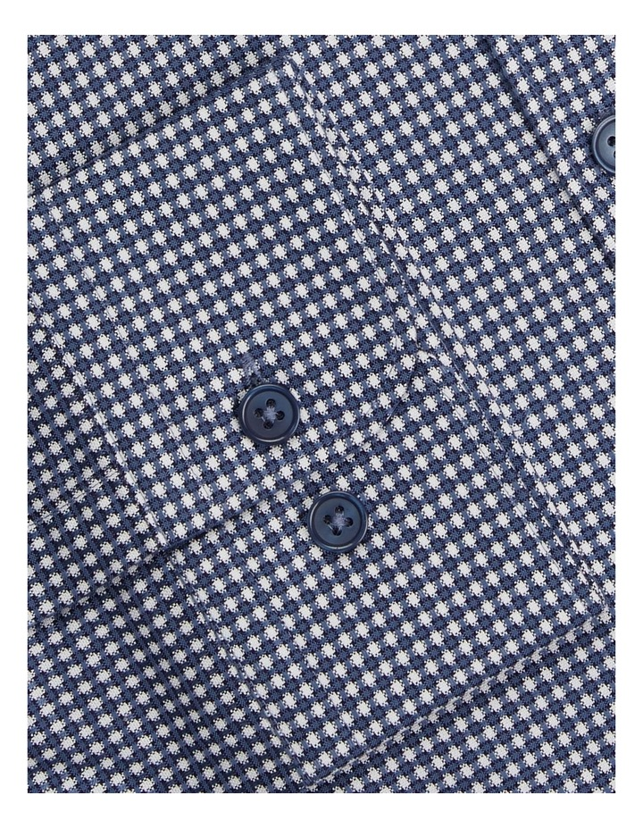 3D Texture Slim Fit Blue Button Cuff Shirt image 3