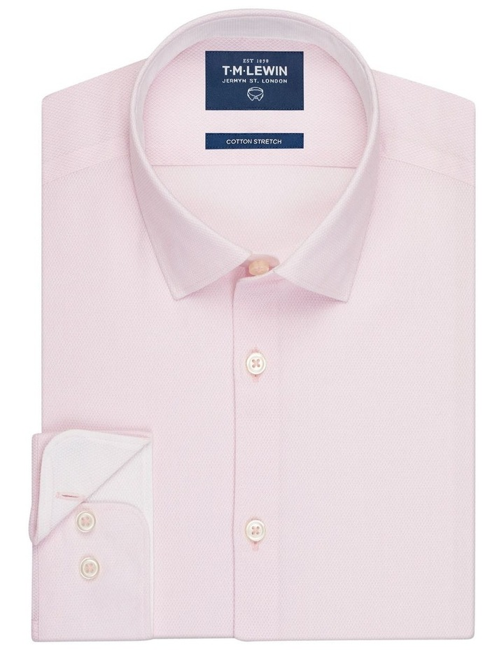 Leno Weave Slim Fit Pink Button Cuff Shirt image 1