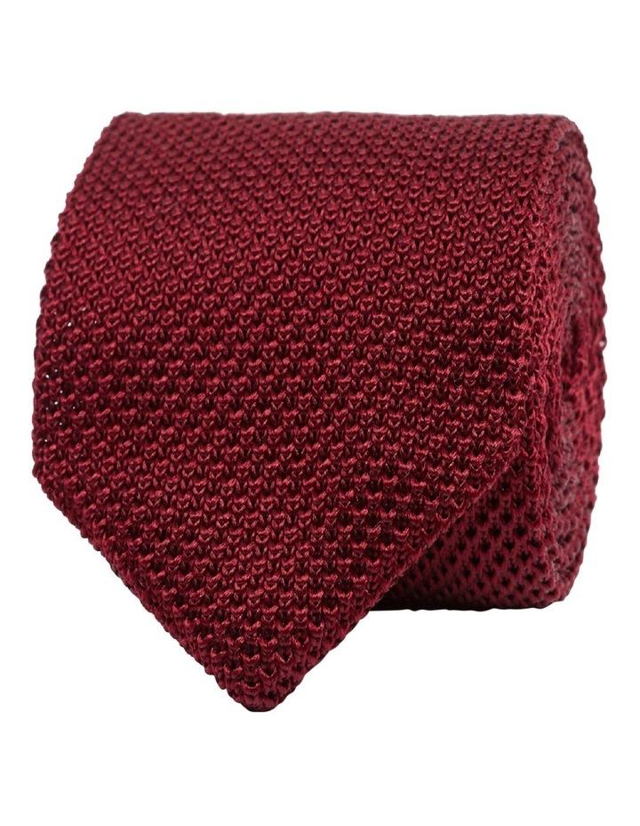 Burgundy Knitted Silk Tie image 1