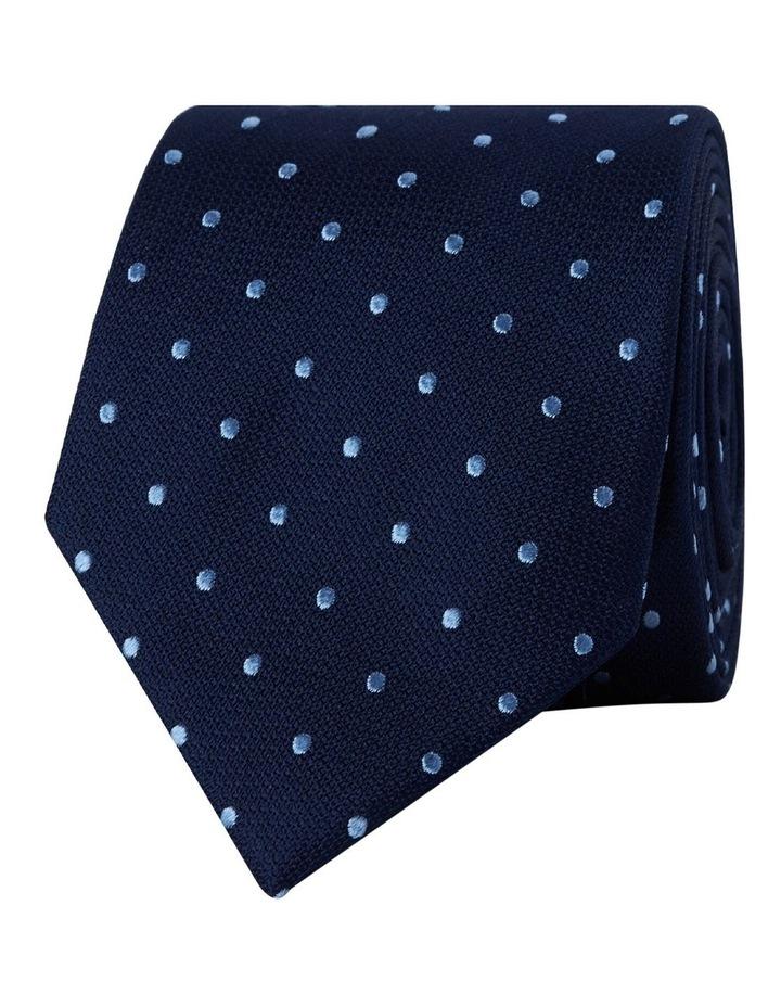 Navy Blue Textured Spot Silk Tie image 1