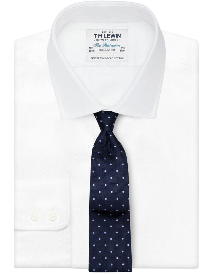 Navy Blue Textured Spot Silk Tie image 2