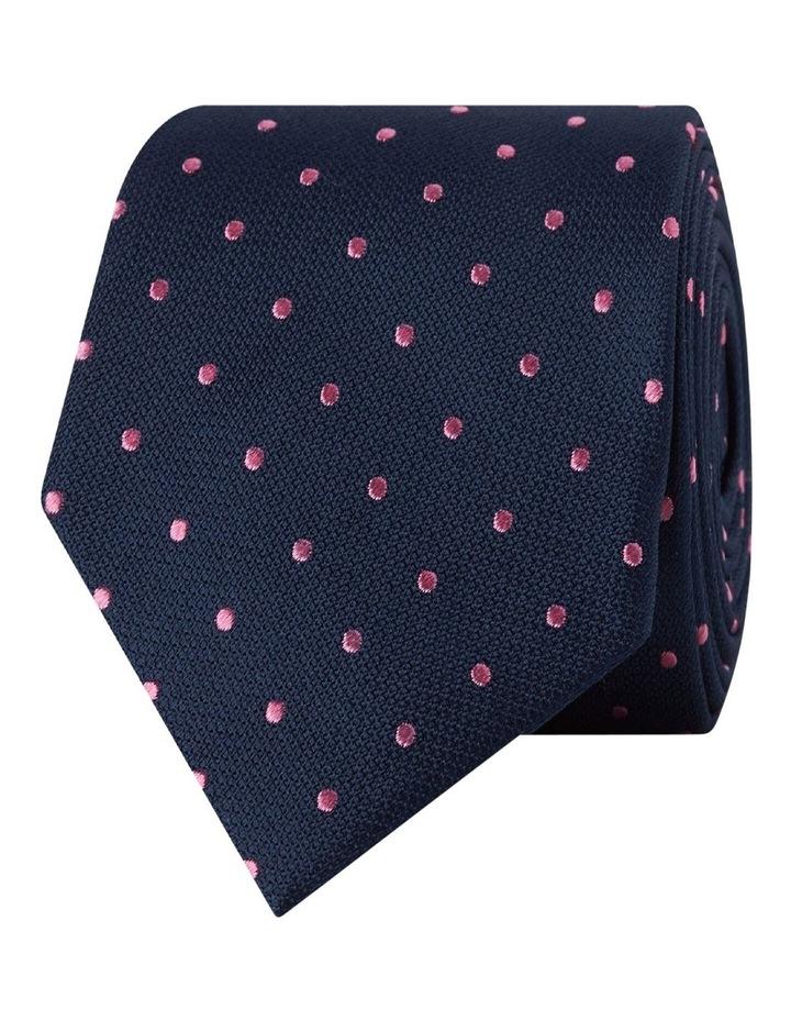 Navy & Pink Spot Silk Tie image 1