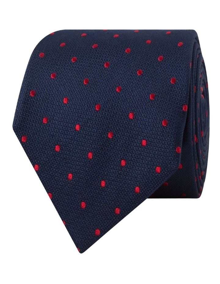 Navy Red Spot Silk Tie image 1