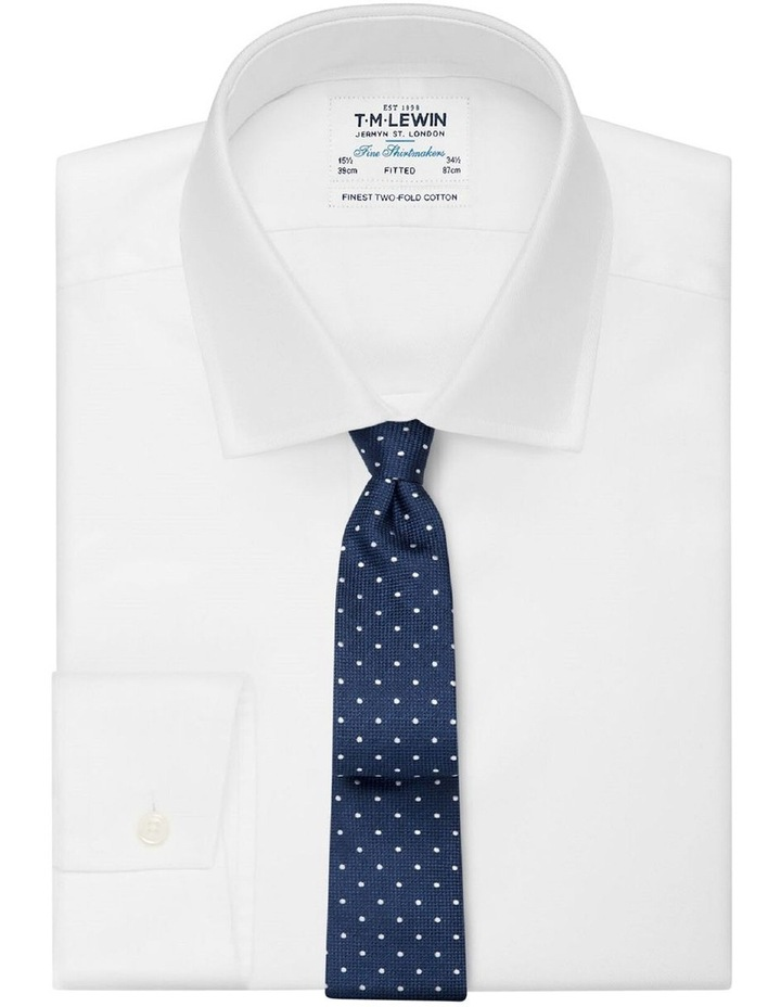 Navy Textured Spot Silk Tie image 2