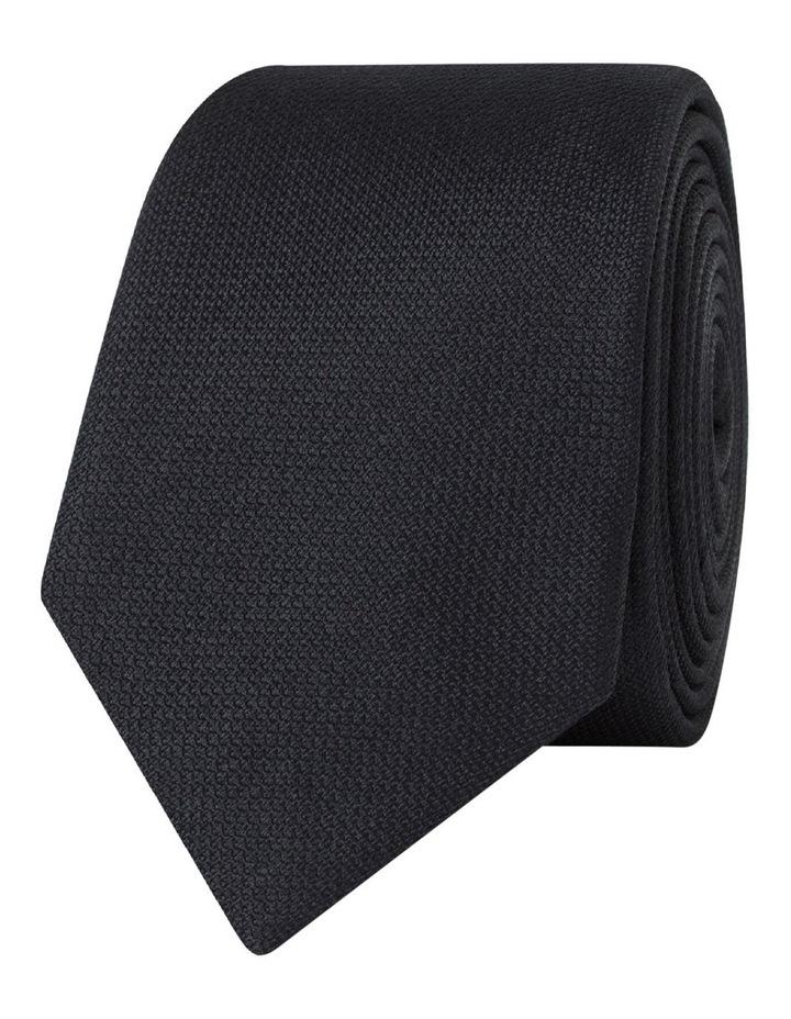 Black Textured Slim Silk Tie image 1