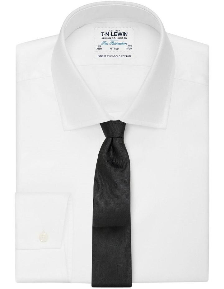 Black Textured Slim Silk Tie image 2