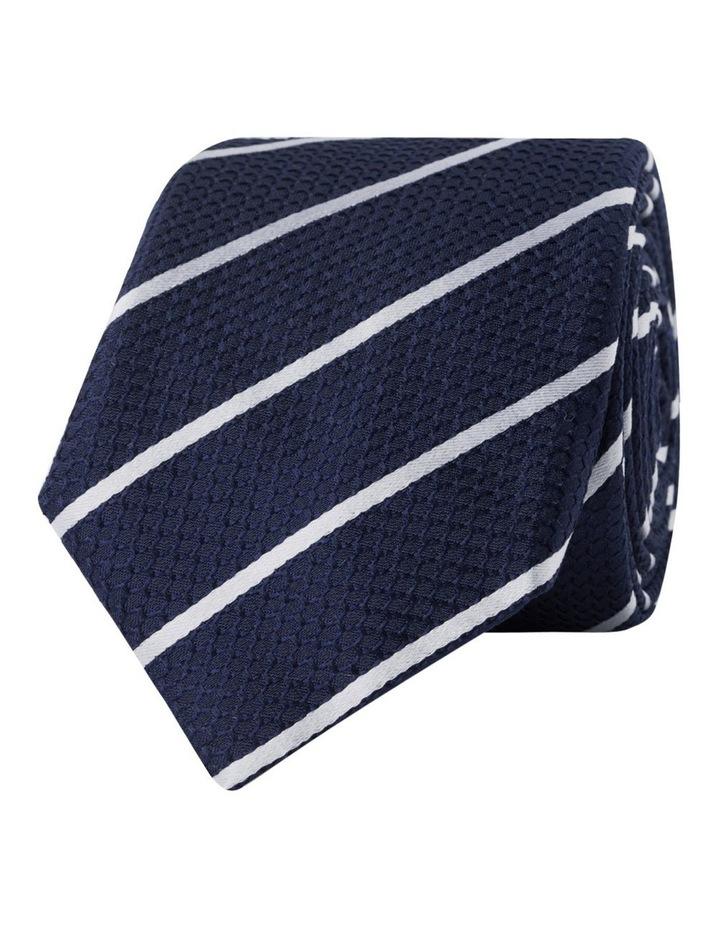 Navy Stripe Slim Silk Tie image 1