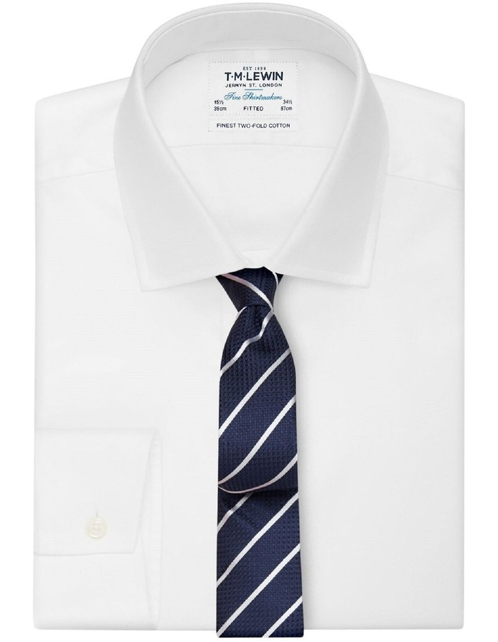 Navy Stripe Slim Silk Tie image 2