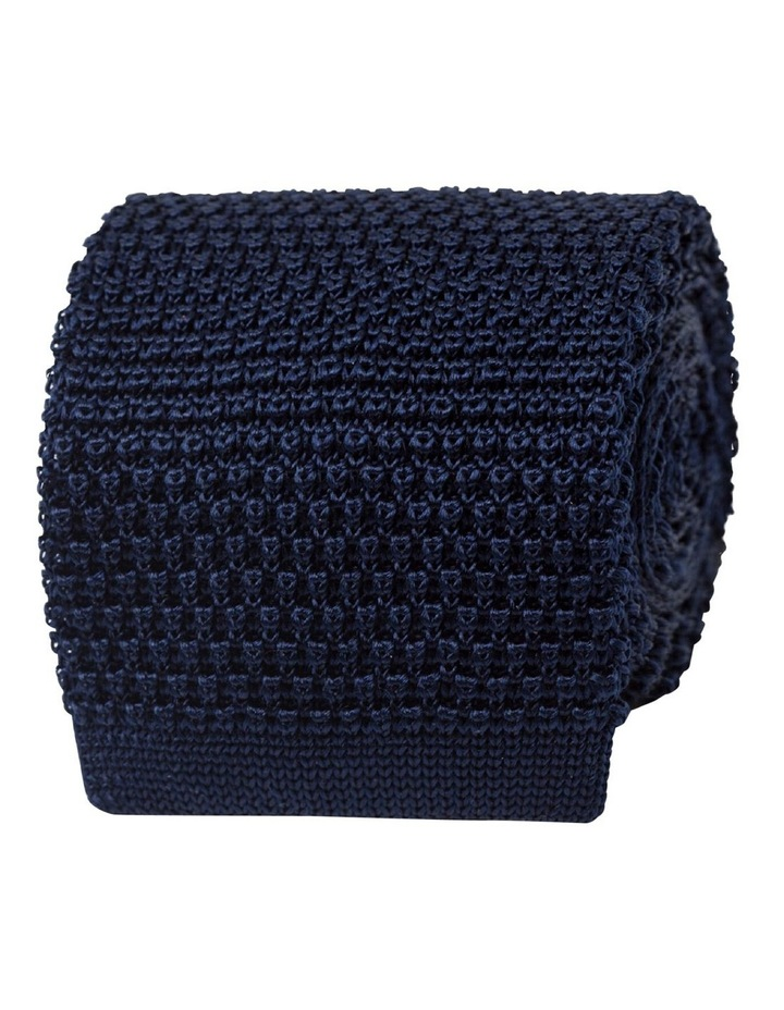 Navy Knitted Silk Tie image 1