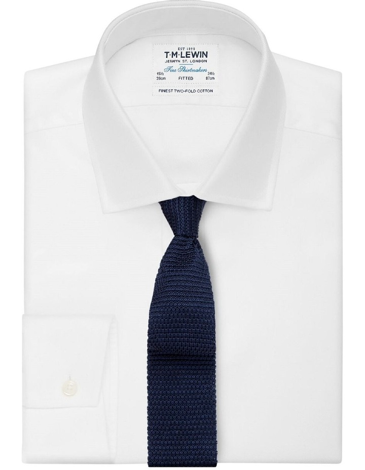 Navy Knitted Silk Tie image 2