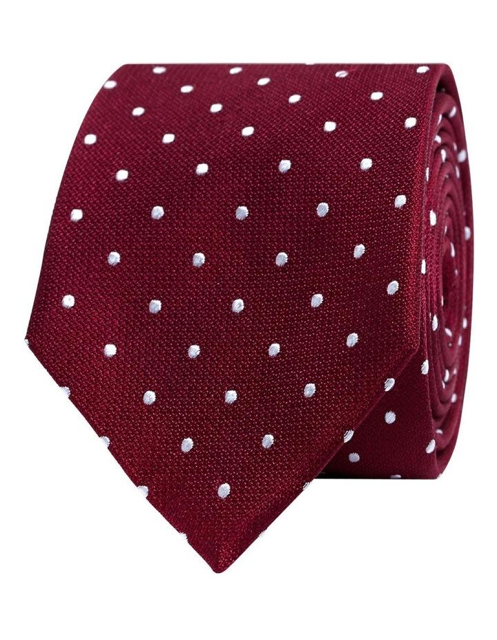 Burgundy White Spot Textured Satin Silk Tie image 1