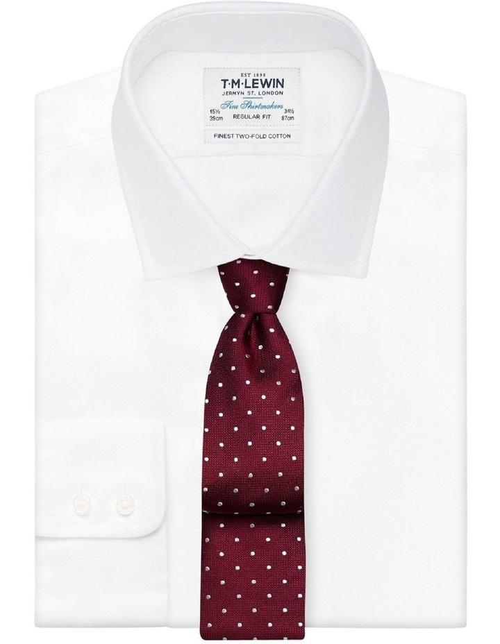 Burgundy White Spot Textured Satin Silk Tie image 2