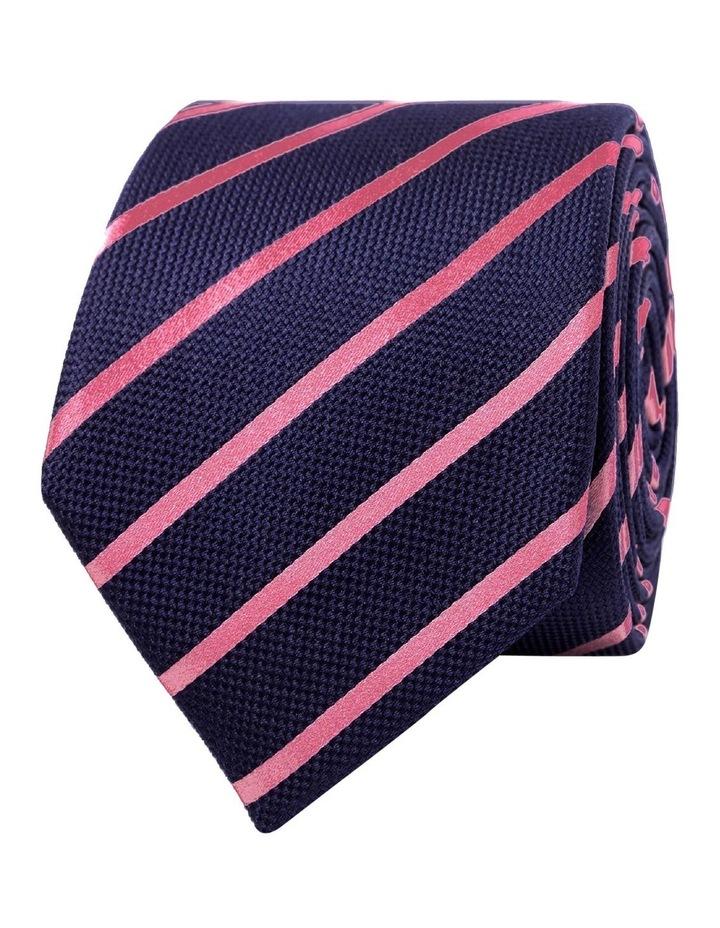 Navy Pink Stripe Textured Satin Silk Tie image 1