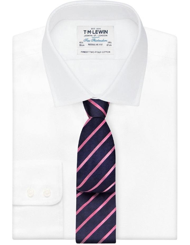 Navy Pink Stripe Textured Satin Silk Tie image 2