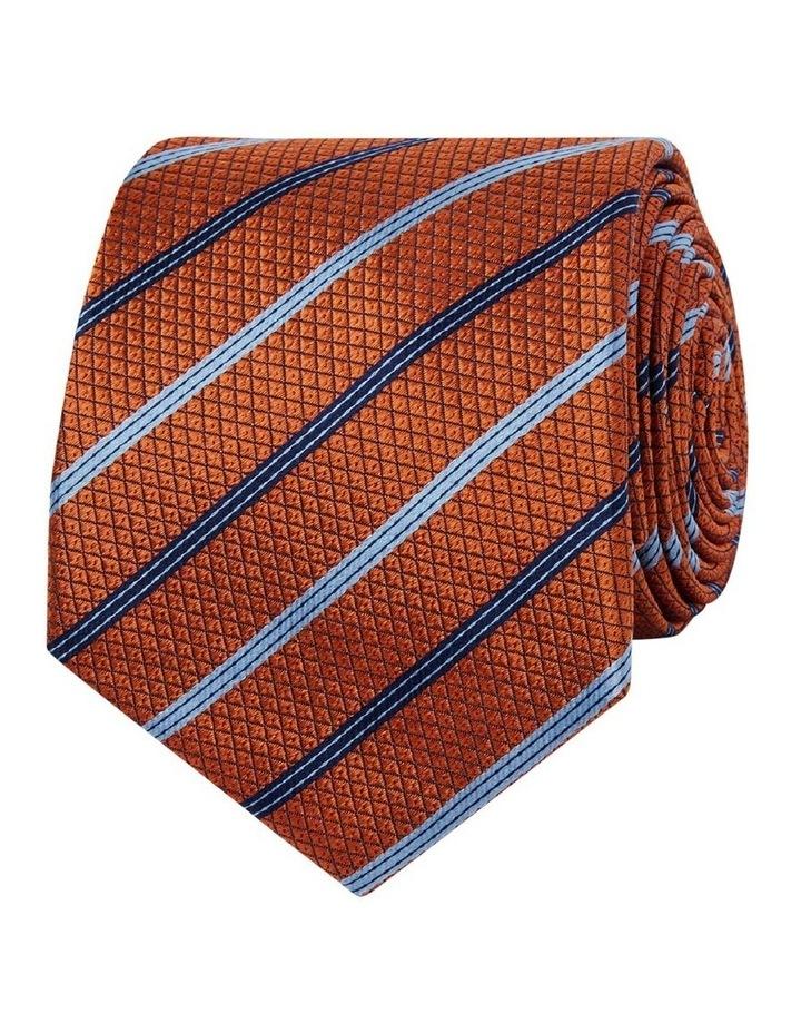 Orange Multi Stripe Textured Silk Slim Tie image 1