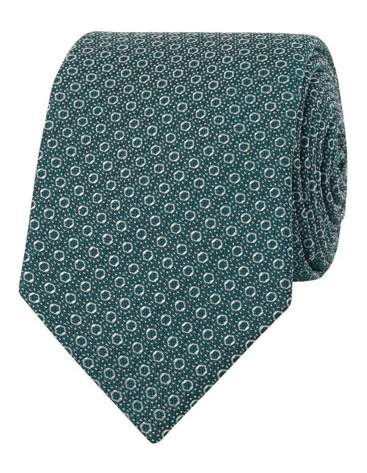 Premium Green Geometric Circle Spot Silk Slim Tie image 1
