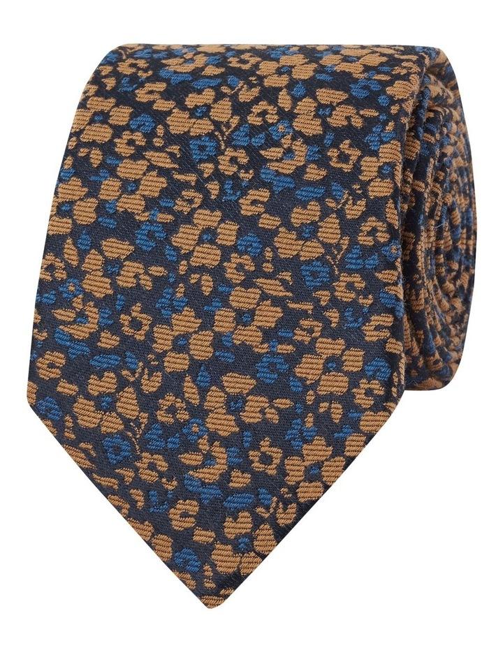 Premium Mustard and Navy Floral Camouflage Wool Silk Slim Tie image 1