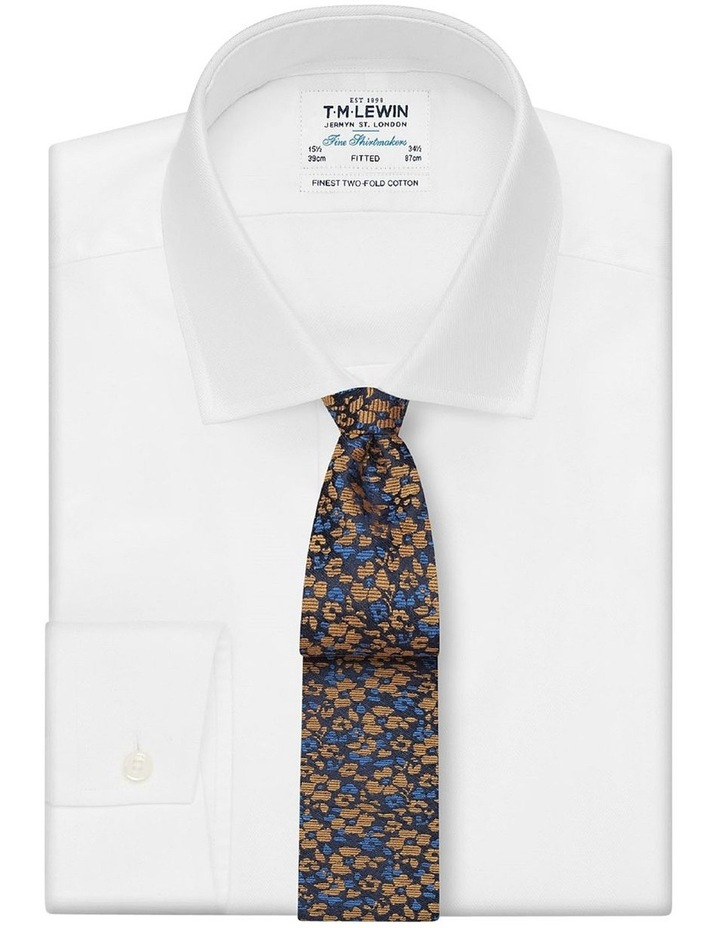 Premium Mustard and Navy Floral Camouflage Wool Silk Slim Tie image 2