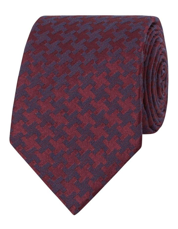 Premium Burgundy Dogtooth Silk Wool Slim Tie image 1
